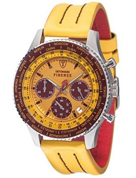 Detomaso Uhr | Armbanduhr Gelb | Armbanduhr mit gelben Lederband | chronographen uhr | gelb-rote Armbanduhr