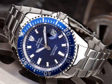 Taucheruhr | Armbanduhr für Tauscher | blaue taucheruhr | edelstahlarmbanduhr | blau silber armbanduhr