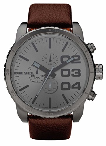 diesel herren 52mm braun leder armband edelstahl geh use. Black Bedroom Furniture Sets. Home Design Ideas