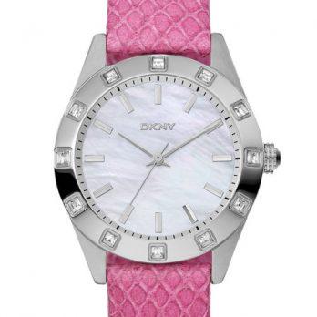 DKNY Uhr | Damenuhr DKNY | Armbanduhr Damen mit Pink Lederband | Pink Lederarmbanduhr
