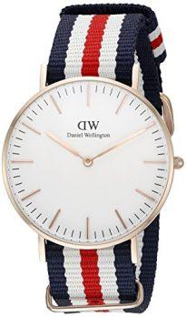 Daniel Wellington Uhr | Textil Armband Uhr  | Rot-weiß blau gestreifte Armbanduhr