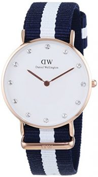 Daniel Wellington Uhr | Analoge quarz Uhr | Armbanduhr mit Textilband | Textilarmbanduhr | blau-weiß gestreifte Armbanduhr