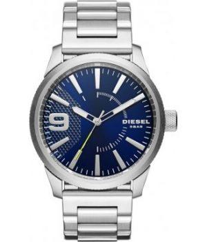 Diesel Uhr   Herrenuhr Diesel   Edelstahl Herrenuhr mit blauemZiffernblatt   Silber Blau Armbanduhr