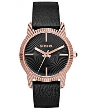 Diesel Uhr   Damenuhr Diesel   damenuhr mit schwarzem Lederband   Edelstahl rosé Damenuhr   rosé damenuhr
