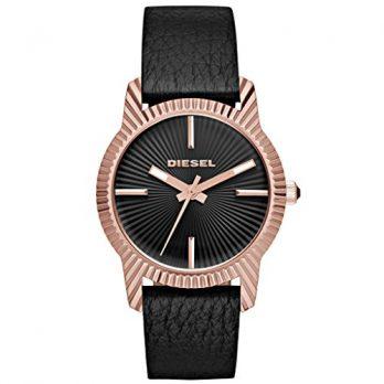 Diesel Uhr | Damenuhr Diesel | damenuhr mit schwarzem Lederband | Edelstahl rosé Damenuhr | rosé damenuhr