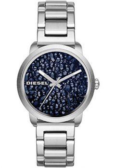 Diesel Uhr | Damenuhr Diesel | silber blaue Armbanduhr | damenuhr silber mit blauem Ziffernblatt
