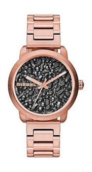 Diesel Damenuhr | Diesel Uhr | Zifferblatt mit gestreuten schwarzen Kristallen | Rose Armbanduhr Damen