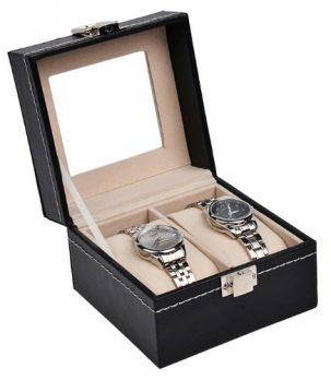 2 Uhrenbox | Aufbewahungsbox für Uhren | Leder Schwarz Uhrenbox