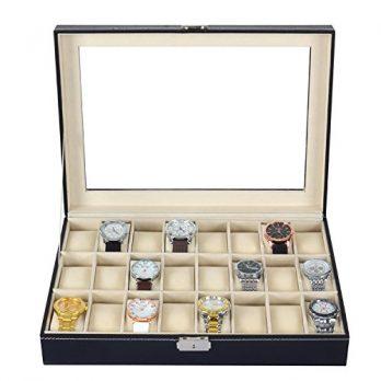 Uhrenbox | Aufbewahungsbox für Uhren | großer Uhrenkasten | Uhrenvitrine für 24 Uhren | Leder Uhrenbox