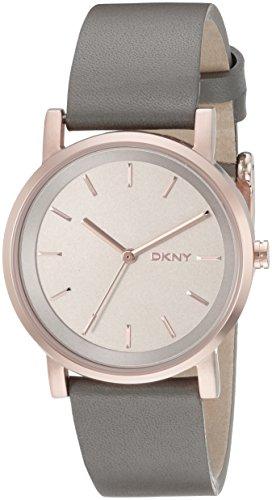 DKNY Uhr | Damenuhr DKNY | Armbanduhr mit Grauen Lederband | Damenarmbanduhr mit Lederband Grau