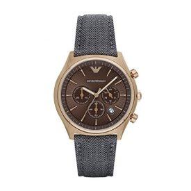Emporio Armani Uhr | Herrenuhr Emporio Armani | Armbanduhr mit braunem Ziffernblatt | braune herrenuhr | braune armbanduhr | armbanduhr mit grauem stoffband | stoffarmbanduhr grau