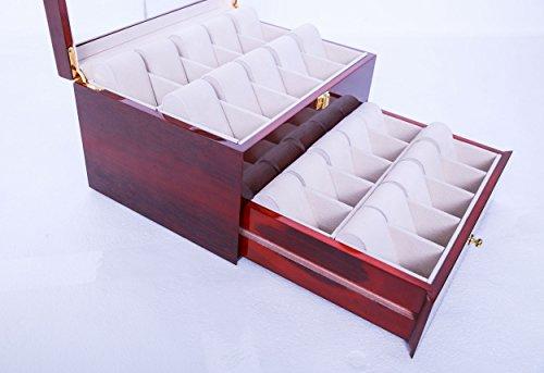 feibrand uhrenbox f r 20 uhren uhrenkasten rot glas holz. Black Bedroom Furniture Sets. Home Design Ideas