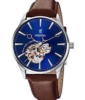 Festina Uhr   Herrenuhr Festina   Leder Uhr Herren   Herrenuhr mit Braunem Lederband   Armbanduhr mit blauem Ziffernblatt