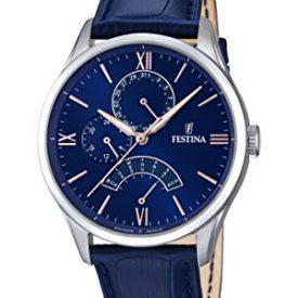 Festina Uhr | Herrenuhr Festina | Blaue Armbanduhr Herren | Herrenuhr mit blauem Lederband