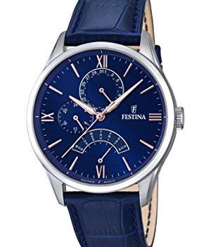 Festina Uhr   Herrenuhr Festina   Blaue Armbanduhr Herren   Herrenuhr mit blauem Lederband