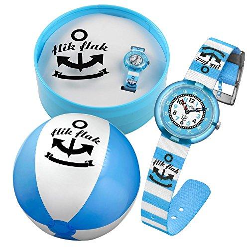 flik flak ftnp004 blue stripes uhr junge kinderuhr set. Black Bedroom Furniture Sets. Home Design Ideas