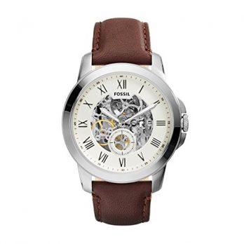 Fossil Uhr | Herrenuhr Braun | Braune Leder Armbanduhr Herren | Herrenuhr mit weißem Ziffernblatt