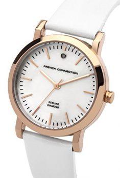 French Connection Uhr   Damenuhr French Connection   Damenuhr mit weißem Lederband