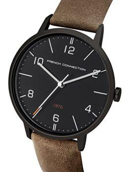 French Connection Uhr | Herrenuhr French Connection |  Herrenuhr mit braunem Lederarmband | Herrenuhr mit schwarzem Ziffernblatt