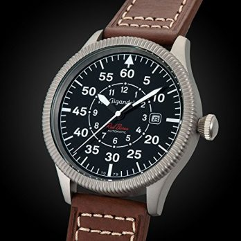 Armbanduhr herren braun Leder | Fliegeruhr mit Lederarmband