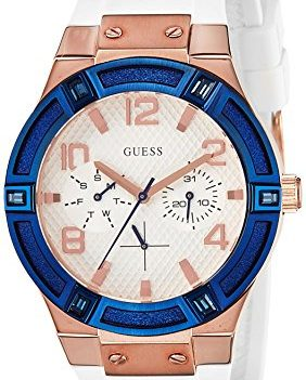 Damenuhr Guess | Guess Armbanduhr | Damenuhr mit Silikonband | Damenuhr mit weißem Sillikonband