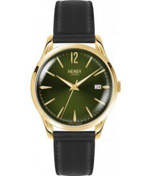 Henry London Armbanduhr   Schwarz-grüne Armbanduhr   Armbanduhr mit grünem ziffernblatt