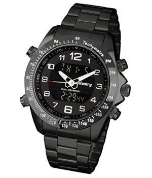 Fliegeruhr   Schwarz Edelstahl Armbanduhr