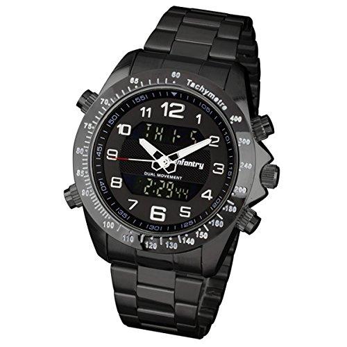 Fliegeruhr | Schwarz Edelstahl Armbanduhr