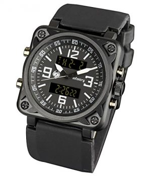 schwarze Herrenuhr   Armbanduhr Digital   Fliegeruhr