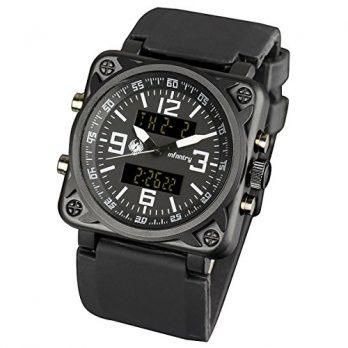 schwarze Herrenuhr | Armbanduhr Digital | Fliegeruhr