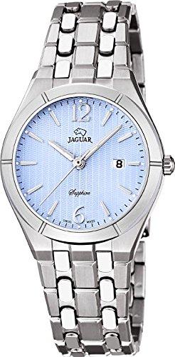 Damenuhr   Jaguar Damenuhr   Armbanduhr Jaguar   Armbanduhr mit hellblauen Ziffernblatt   silber-hellblaue Armbanduhr damen