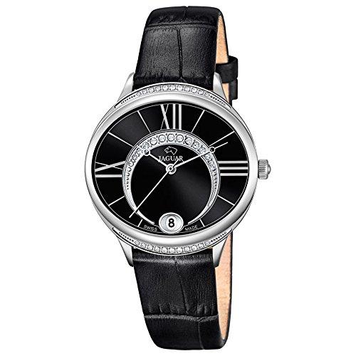 jaguar damen armbanduhr fashion analog leder armband schwarz quarz uhr ziffernblatt perlmutt. Black Bedroom Furniture Sets. Home Design Ideas