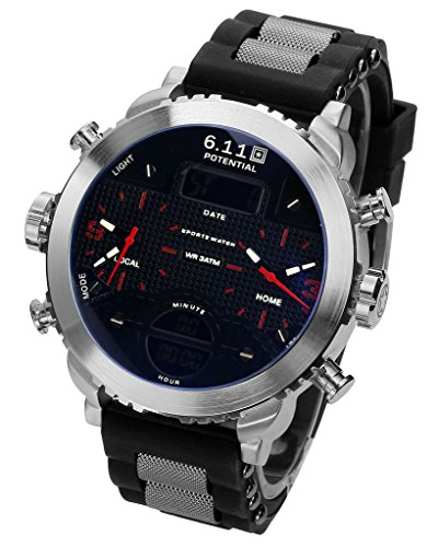 jsdde herren armbanduhr chronograph lcd digital dual. Black Bedroom Furniture Sets. Home Design Ideas