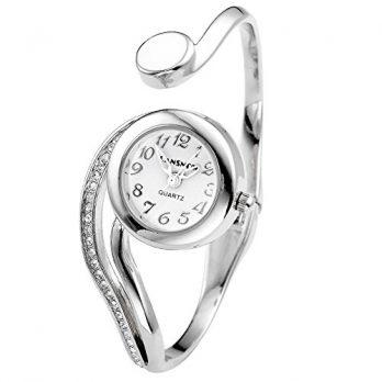 elegante armbanduhr | damen armbanduhr silber | quarzuhr | armbanduhr und armnreif