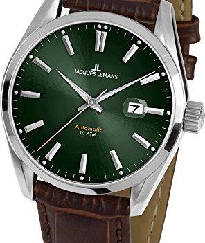 Jacques Lemans Uhr | Armbanduhr Jacques Lemans | Herrenuhr Jacques Lemans | Automatik herrenuhr | Armbanduhr mit grünem Ziffernblatt