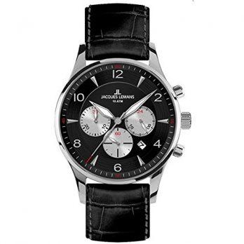Jacques Lemans | Armbanduhr Jacques Lemans | Herrenuhr Jacques Lemans | schwarze armbanduhr  | lederarmbanduhr herren| xl armbanduhr herren