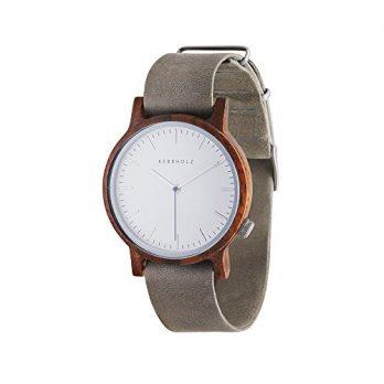 Holzarmbanduhr  | Kerbholz Uhr | ArmbanduhrKerbholz  | Damenuhr Kerbholz | Holzarmbanduhr damen mit grau lederarmband