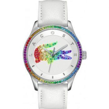 Lacoste Uhr | Armbanduhr Lacoste| Damenuhr Lacoste | Damenuhr mit weißem Lederarmband | weiße Lederdamenarmbanduhr