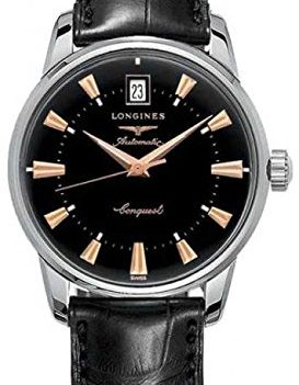 Longines Uhr | Armbanduhr Longines | Herrenuhr Longines | schwarze armbanduhr herren | schwarze lederarmbanduhr herren