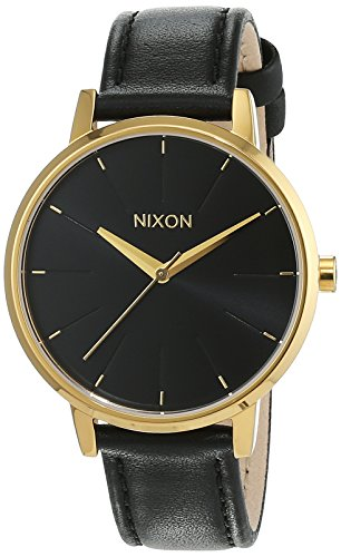 nixon damen armbanduhr kensington leather gold black. Black Bedroom Furniture Sets. Home Design Ideas