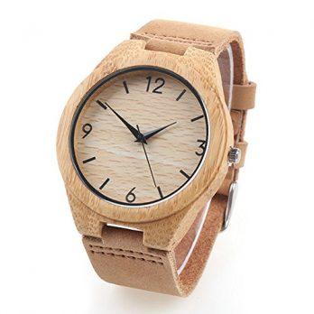 bambusholzuhr   armbanduhr bambus   naturlederamband