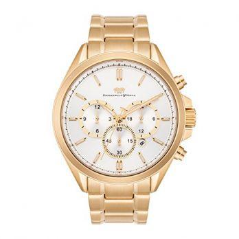 gold-silberne edelstahl armbanduhr | multifunktionsuhr | zweizeitzonenuhr