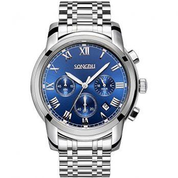 Multifunktionsuhr | blaues ziffernblatt armbanduhr | silber- edelstahl armbanduhr