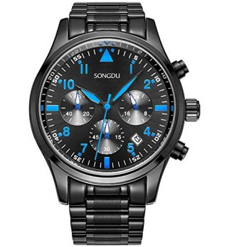 Multifunktionsuhr | schwarze edelstahl armbanduhr | blaue zeiger armbanduhr