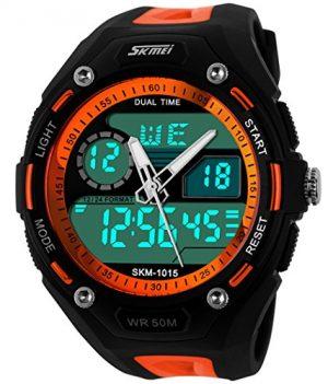 wasserdichte analoge digitale sport multifunktionsuhr   rot-schwarze multifunktionelle armbanduhr