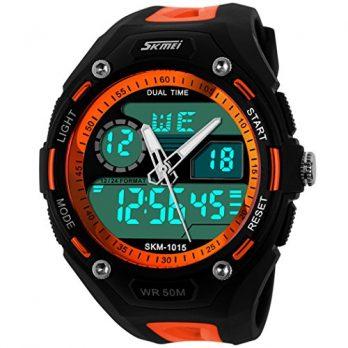 wasserdichte analoge digitale sport multifunktionsuhr | rot-schwarze multifunktionelle armbanduhr