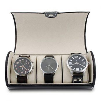 Uhrenbox | Aufbewahungsbox für 3 Uhren | Schwarze Uhrenbox