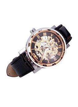 mechanische armbanduhr | rosa-schwarz-goldene armbanduhr | damen armbanduhr mechanische rosa