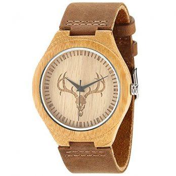 armbanduhr holz   bambusholz armbanduhr   rinderlederband armbanduhr   hirschmotiv armbanduhr