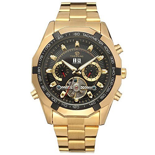 xlordx luxus herren datum mechanische automatik uhr skelett gold edelstahl armbanduhr sportuhr. Black Bedroom Furniture Sets. Home Design Ideas
